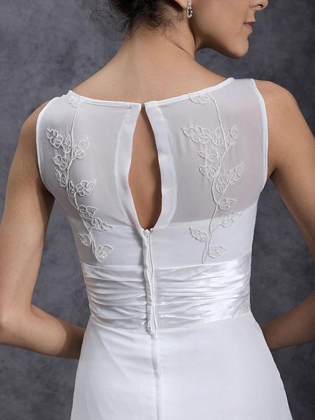 Sheath \ Column Wedding Dresses Scoop Neck Tea Length Chiffon Regular Straps Little White Dress_6