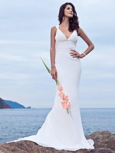 Mermaid \ Trumpet Wedding Dresses V Neck Sweep \ Brush Train Chiffon Regular Straps Beach Backless_1