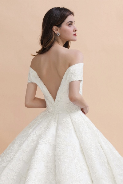 Gorgeous Backless Off-the-shoulder Ball Gown Wedding Dresses_5