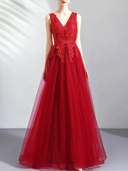 A-Line Wedding Dresses V Neck Floor Length Tulle Regular Straps Romantic Plus Size Red_3
