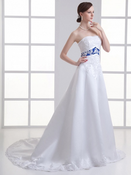 A-Line Strapless Court Train Lace Satin Strapless Wedding Dresses_2