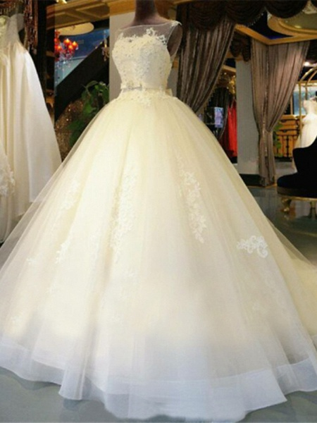 Ball Gown Wedding Dresses Scoop Neck Chapel Train Lace Over Tulle Regular Straps Glamorous Illusion Detail Backless_1