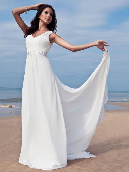 Sheath \ Column Wedding Dresses V Neck Floor Length Chiffon Regular Straps Simple Beach Plus Size_1
