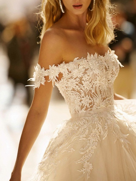 A-Line Wedding Dresses Off Shoulder Sweep \ Brush Train Lace Tulle Short Sleeve Romantic Illusion Detail_3