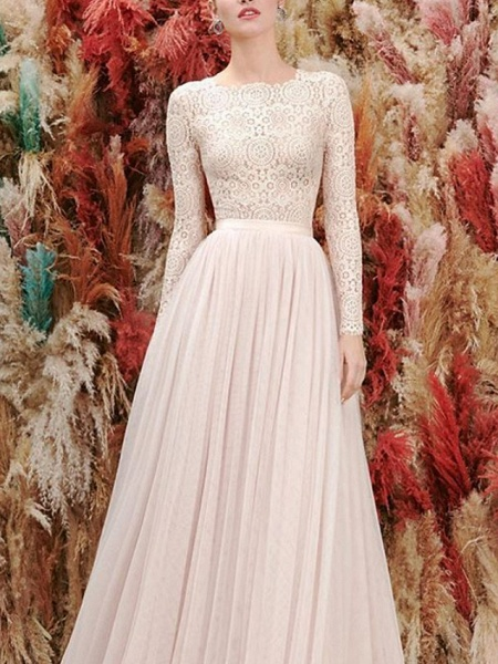 A-Line Wedding Dresses Jewel Neck Floor Length Lace Tulle Long Sleeve Romantic Wedding Dress in Color_2