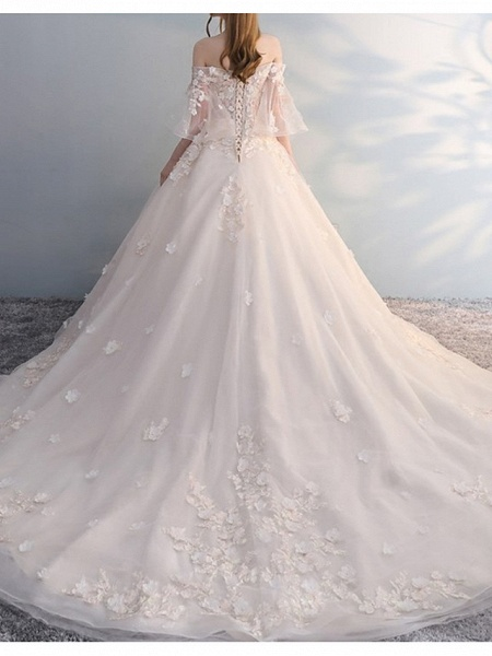 A-Line Wedding Dresses Off Shoulder Court Train Lace Tulle Sleeveless Casual Plus Size_2