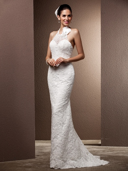 Mermaid \ Trumpet Wedding Dresses Halter Neck Sweep \ Brush Train Lace Regular Straps Open Back_4