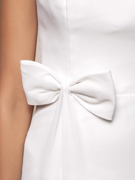 Sheath \ Column Wedding Dresses Bateau Neck Floor Length Chiffon Sleeveless_9