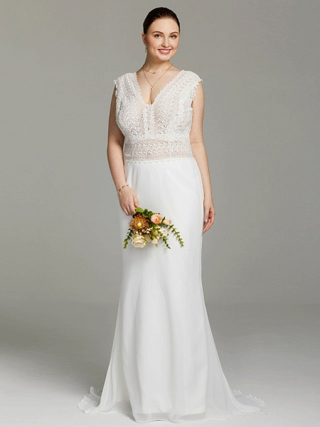Mermaid \ Trumpet Wedding Dresses V Neck Sweep \ Brush Train Chiffon Lace Sleeveless Open Back See-Through_1
