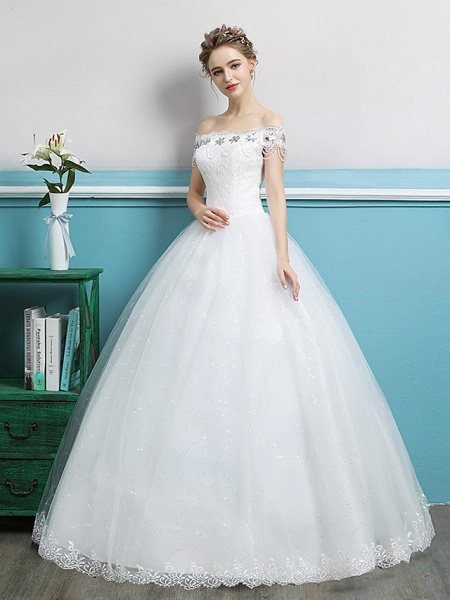 Ball Gown Wedding Dresses Off Shoulder Floor Length Lace Tulle Polyester Sleeveless Romantic_2