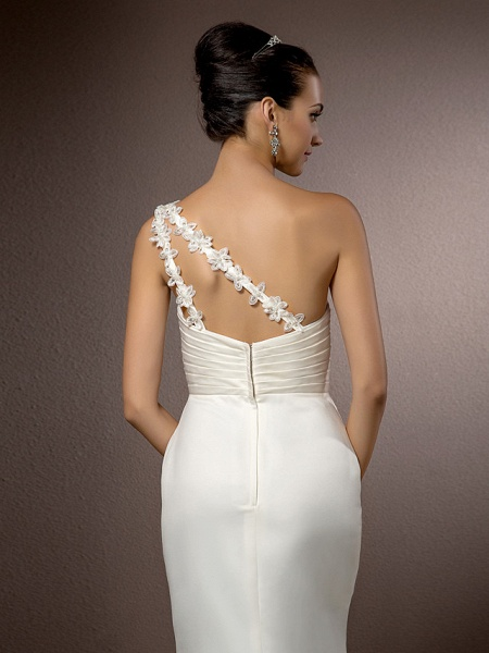 Mermaid \ Trumpet Wedding Dresses One Shoulder Court Train Satin Sleeveless_6
