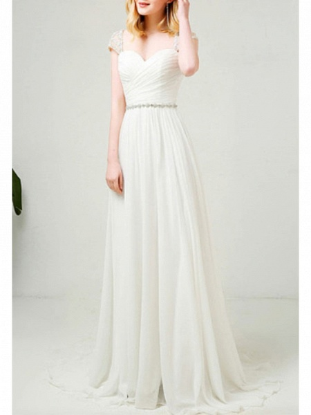 A-Line Wedding Dresses Sweetheart Neckline Sweep \ Brush Train Tulle Cap Sleeve Simple Backless_1