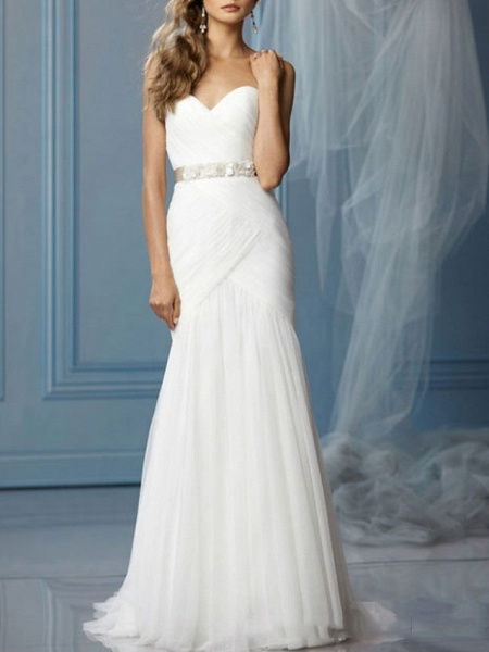 Mermaid \ Trumpet Sweetheart Neckline Sweep \ Brush Train Lace Sleeveless Formal Wedding Dresses_1