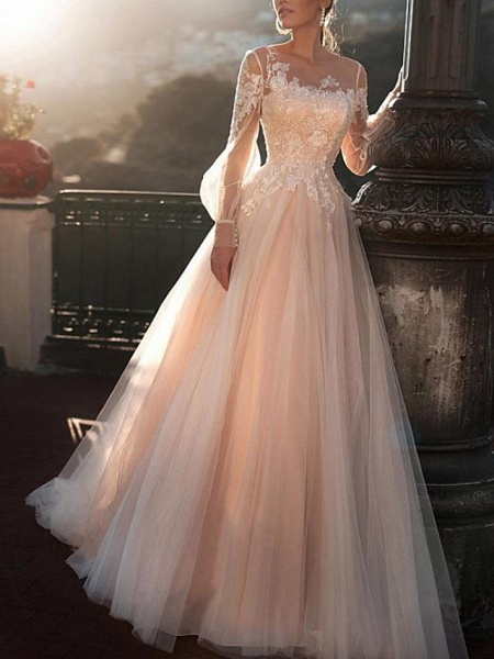 A-Line Wedding Dresses Jewel Neck Sweep \ Brush Train Lace Tulle Long Sleeve Sexy Wedding Dress in Color See-Through
