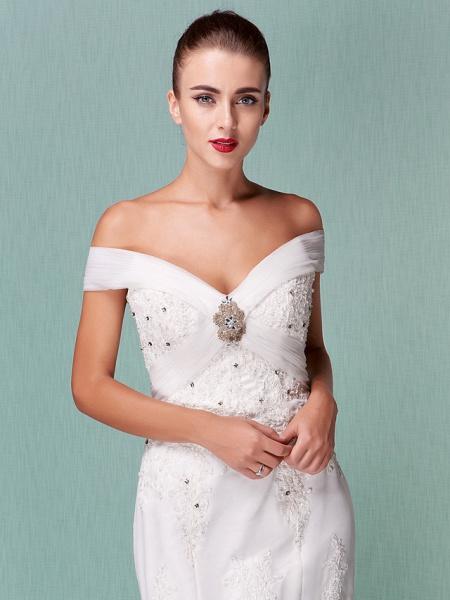 Mermaid \ Trumpet Wedding Dresses Off Shoulder Chapel Train Organza Short Sleeve_9