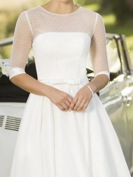 A-Line Wedding Dresses Jewel Neck Tea Length Satin Tulle Half Sleeve Vintage Sexy Wedding Dress in Color_3