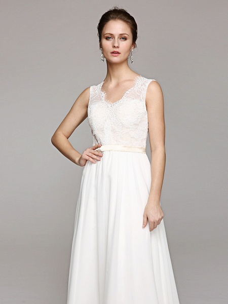 A-Line Wedding Dresses V Neck Court Train Chiffon Lace Bodice Regular Straps Simple Illusion Detail Backless_6