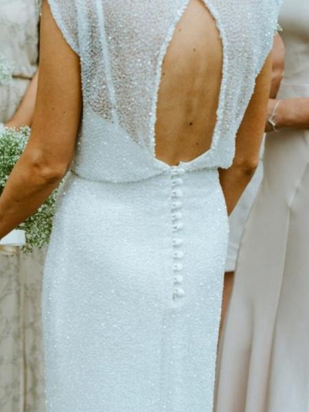 Sheath \ Column Wedding Dresses Jewel Neck Floor Length Tulle Sequined Half Sleeve Beach Sexy_4