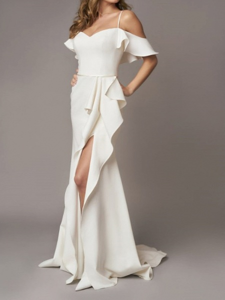 A-Line Wedding Dresses Off Shoulder Sweep \ Brush Train Chiffon Over Satin Short Sleeve Simple_1