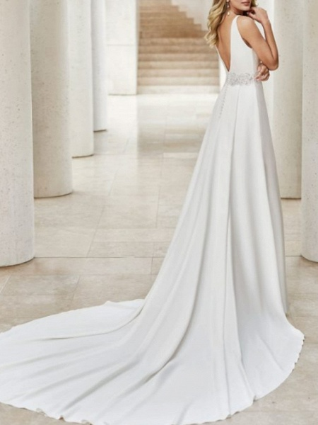 A-Line Wedding Dresses V Neck Court Train Satin Sleeveless Formal Plus Size_2