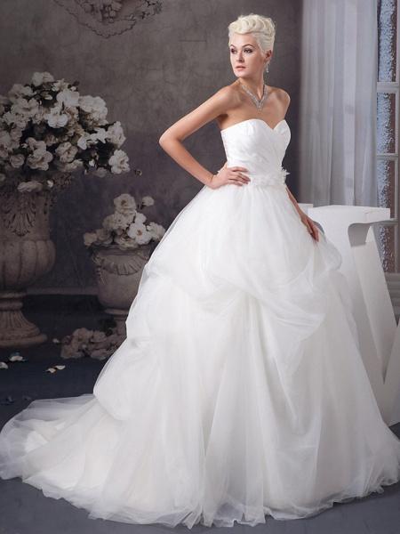 A-Line Sweetheart Neckline Court Train Organza Satin Strapless Wedding Dresses_2