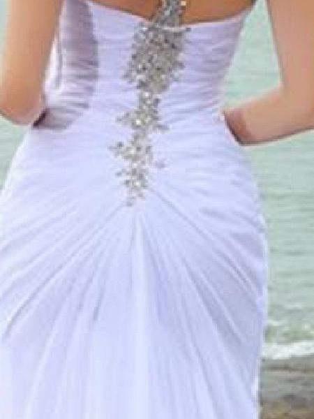 Mermaid \ Trumpet Wedding Dresses Sweetheart Neckline Court Train Chiffon Taffeta Cap Sleeve Country Plus Size_3