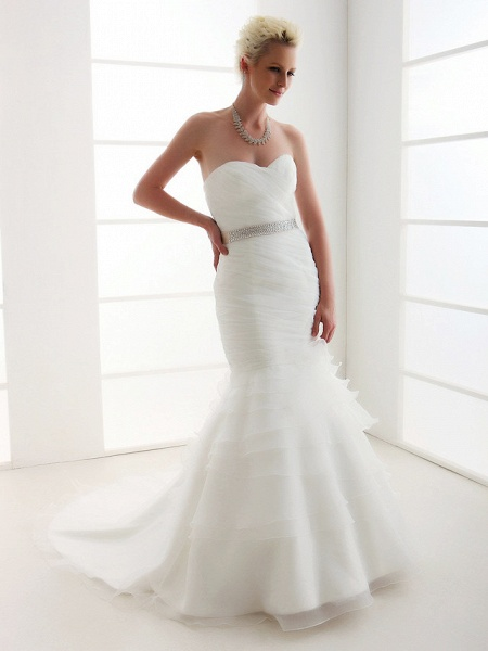 Mermaid \ Trumpet Wedding Dresses Sweetheart Neckline Court Train Organza Satin Sleeveless_4