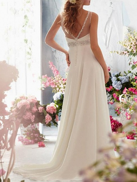 A-Line Wedding Dresses Jewel Neck Sweep \ Brush Train Chiffon Tulle Sleeveless Simple Beach See-Through Backless_3