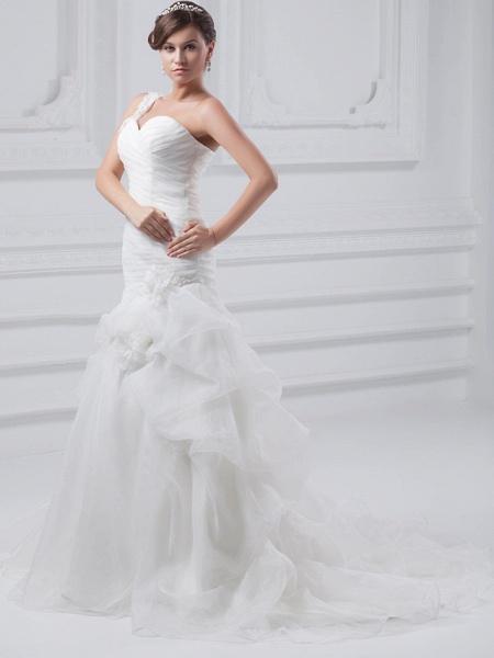 A-Line One Shoulder Court Train Organza Satin Spaghetti Strap Wedding Dresses_2