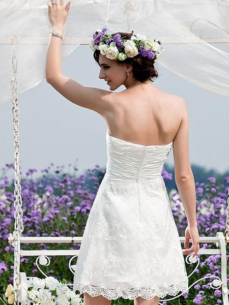 Princess A-Line Wedding Dresses Strapless Short \ Mini Chiffon Lace Sleeveless Little White Dress_6