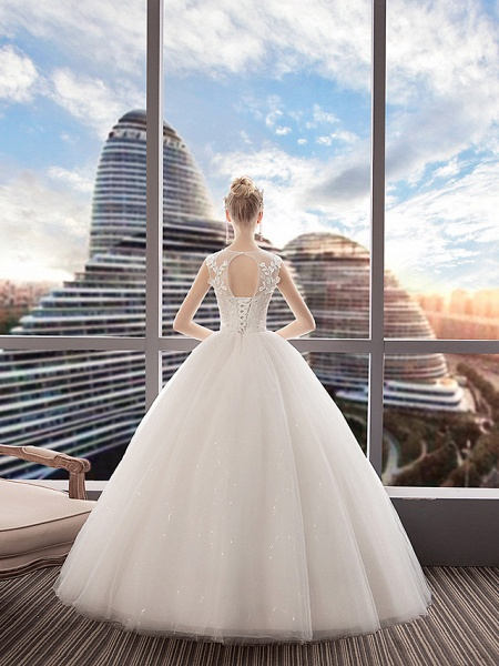A-Line Wedding Dresses Jewel Neck Floor Length Lace Tulle Polyester Regular Straps Formal Sexy See-Through Illusion Detail_3