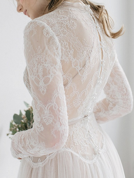 A-Line Wedding Dresses High Neck Sweep \ Brush Train Tulle Long Sleeve Casual Boho See-Through Illusion Sleeve_2