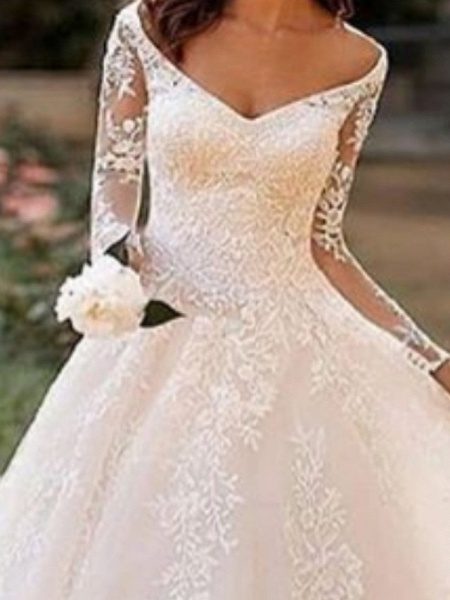 A-Line Wedding Dresses Bateau Neck V Neck Court Train Lace Tulle Long Sleeve Illusion Sleeve_3