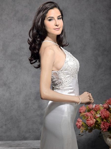 Mermaid \ Trumpet Wedding Dresses Halter Neck Court Train Stretch Satin Sleeveless_5