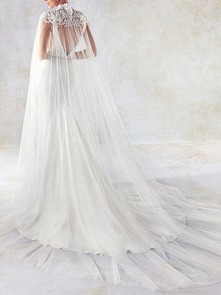 Mermaid \ Trumpet Wedding Dresses V Neck Sweep \ Brush Train Lace Tulle Stretch Satin Sleeveless Simple Sexy Backless Cape_2