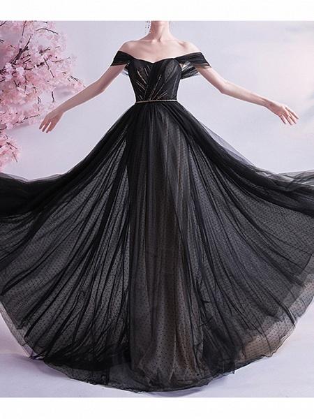 A-Line Wedding Dresses Off Shoulder Sweep \ Brush Train Tulle Cap Sleeve Formal Black Modern_1