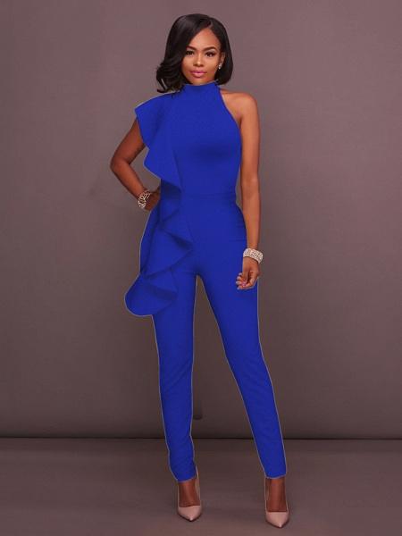 Women's Basic Halter Neck Yellow Royal Blue White Jumpsuit_4