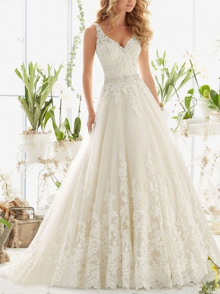 A-Line Wedding Dresses V Neck Court Train Lace Regular Straps_1