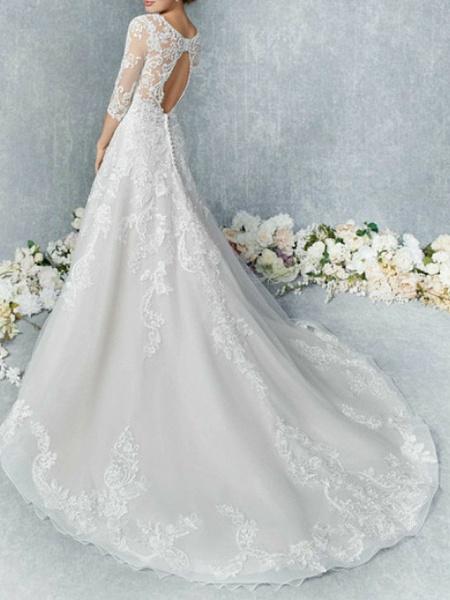 A-Line Wedding Dresses Jewel Neck Court Train Tulle 3\4 Length Sleeve Illusion Sleeve_3