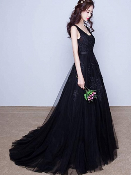 A-Line V Neck Court Train Lace Tulle Regular Straps Black Wedding Dresses_2