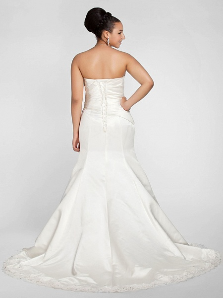 Mermaid \ Trumpet Wedding Dresses Sweetheart Neckline Court Train Satin Strapless Formal Sparkle & Shine Plus Size_4
