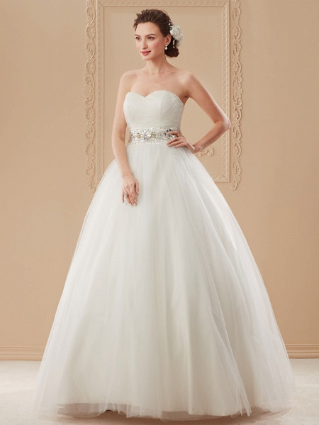 Ball Gown Wedding Dresses Sweetheart Neckline Floor Length Tulle Sleeveless Open Back_11