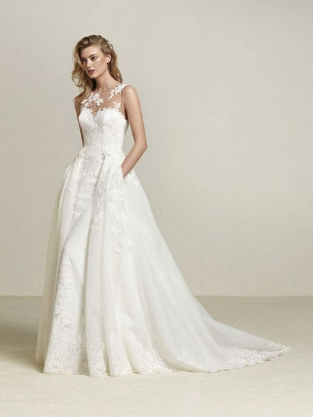 A-Line Wedding Dresses Scoop Neck Court Train Lace Tulle Lace Over Satin Regular Straps Romantic See-Through_1