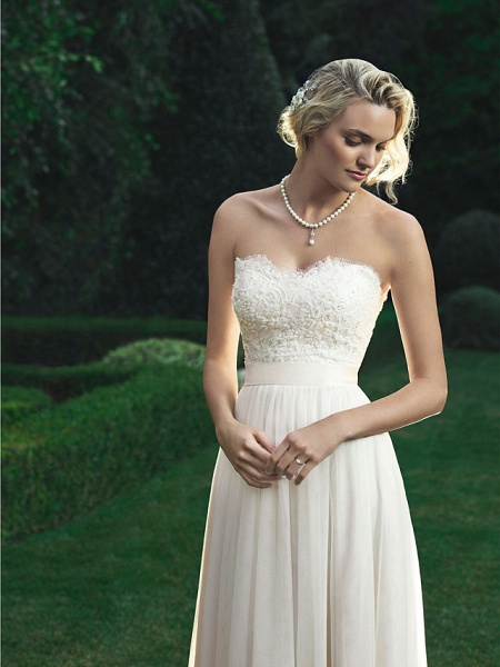 A-Line Wedding Dresses Sweetheart Neckline Court Train Polyester Strapless Beach Backless_3