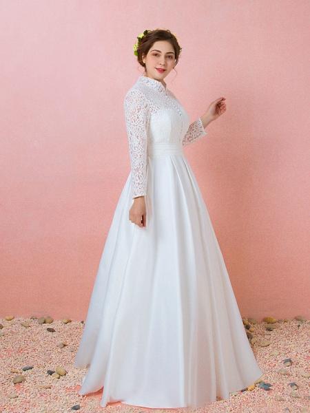 A-Line Wedding Dresses High Neck Floor Length Lace Satin Long Sleeve Formal Simple Plus Size_2