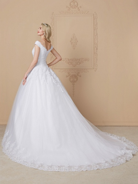 Ball Gown V Neck Cathedral Train Lace Tulle Cap Sleeve Glamorous Illusion Detail Wedding Dresses_2