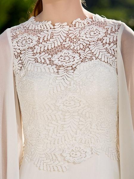 Sheath \ Column Wedding Dresses Jewel Neck Sweep \ Brush Train Lace Georgette Long Sleeve Beach Illusion Detail Backless_7