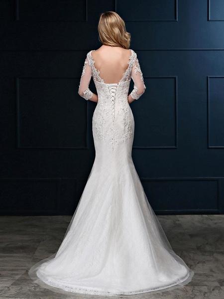 Mermaid \ Trumpet Wedding Dresses V Neck Sweep \ Brush Train Lace Over Tulle 3\4 Length Sleeve Romantic Glamorous Sparkle & Shine Backless Illusion Sleeve_2