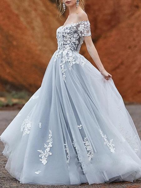 A-Line Wedding Dresses Off Shoulder Sweep \ Brush Train Lace Tulle Short Sleeve_1