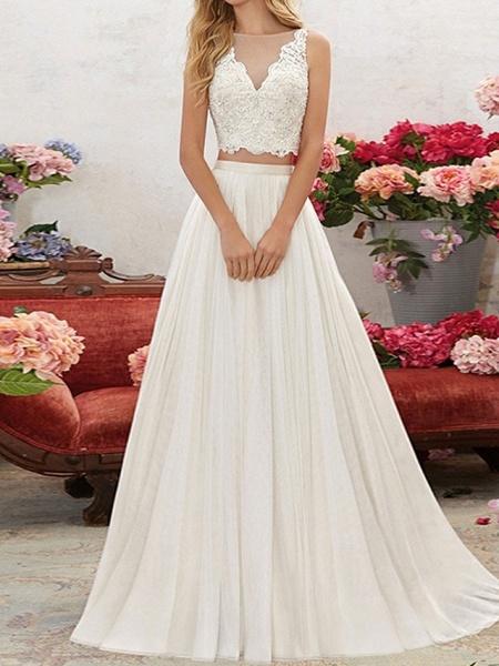 Lt7928518 V-neck Beading Belt Boho Wedding Dress_1
